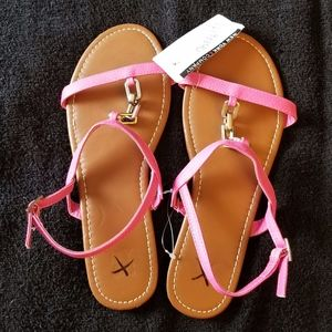 NY & C Pink Embellished Strap Sandals New